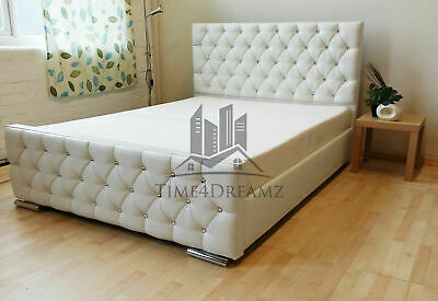 Florida White Faux Leather Diamond Bed Frame - 3FT 4'6 Double 5FT Kingsize SALE