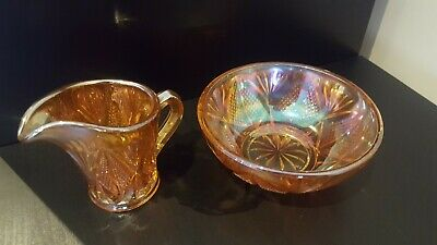 Vintage Antique Carnival Glass Amber Bowl & Jug