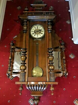 Mahogany Vienna Pendulum Wall Clock  Pre 1900 Antique Victorian Chiming Working
