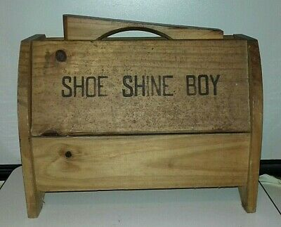 Vintage Wooden Shoe Shine Box With Brushes