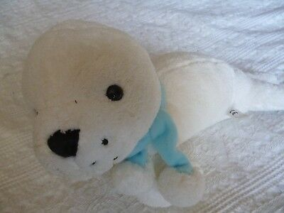 White Seal with Blue Scarf 13 inches long