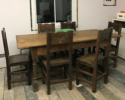 French late 18th century elm dining chairs with panel seats x 6, REDUCED PRICE!