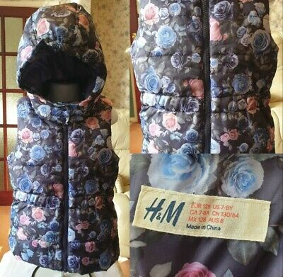 H&M Floral Blue Pink Gilet Coat  Detachable Hood Age 7-8 Winter New No Tags