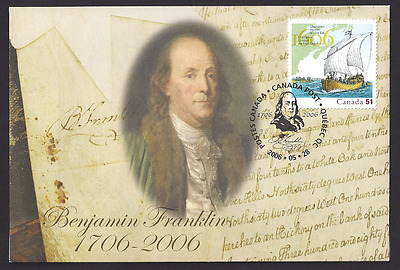 Canada  S69  Special Event Cover   Benjamin Franklin    New 2006 Unaddressed