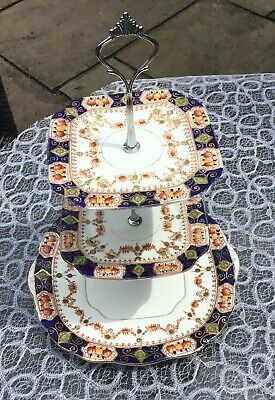 Vintage cake stand, 3 tier, English fine bone china, VGC
