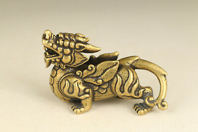 Fortune Rare chinese old bronze hand carving dragon statue figue netsuke gift
