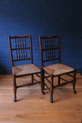 Pair of Antique Georgian Lancashire Spindleback Oak & Elm Rush-Seated Country Ho