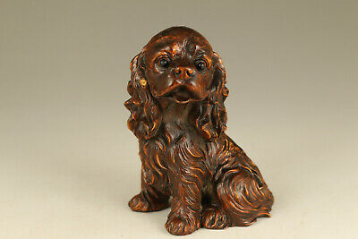 old boxwood lovely dog seat statue figue netsuke gift home deco