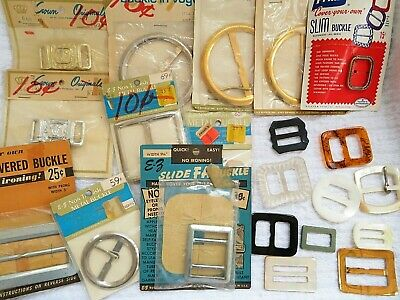 Vintage Belt Buckles Mother of Pearl Metal Plastic Lot of 21 Mixed Sizes Sewing