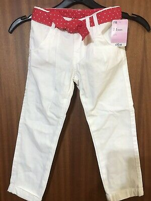 Mothercare Girls Summer Trousers 2-3 Years In White