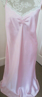 NWT vnt style Marks & Spencer long shiny satin pink nightdress/slip sz 22