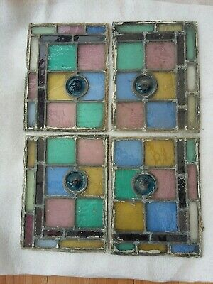 Victorian stained glass windows x 4