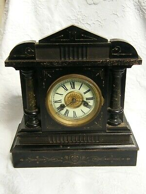 Antique-H.A.C-Ornate Corinthian Style 8 Day Pendulum Mantle Clock-GWO-circa 1900