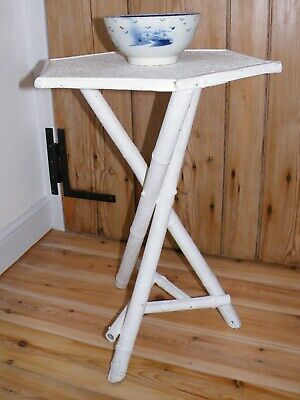 Stylish Antique/Early Vintage White Painted Bamboo Occasional/Bedside/Lamp Table