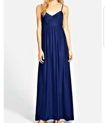 3ee68cd26e7c0 Felicity & Coco navy blue Colby woven maxi dress Nordstrom new with tag  small