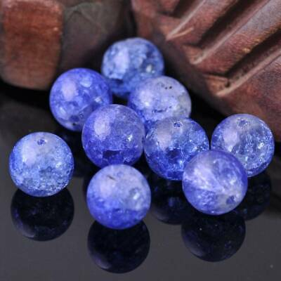 10pcs 12mm Blue Round Crackle Glass Crystal Loose Beads lot for Jewelry Making