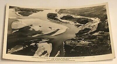 Vtg Postcard Looking Upstream At The Peace River Crossed By The Alaska Highway