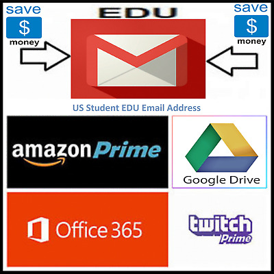 Edu Email (6Months Amazon Prime Unlimited Google Drive Storage US Student Mail )