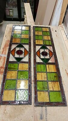 2 Antique Victorian Matching STAINED GLASS WINDOW PANEL LEADED.slight chip in 1