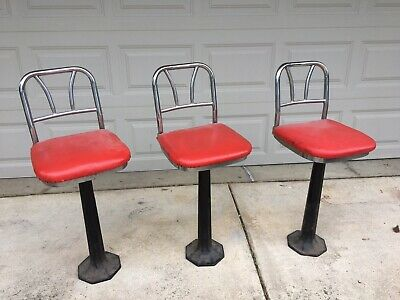 Vintage Old Time Soda Fountain/Ice Cream Palor Art Deco Stools From The 50's