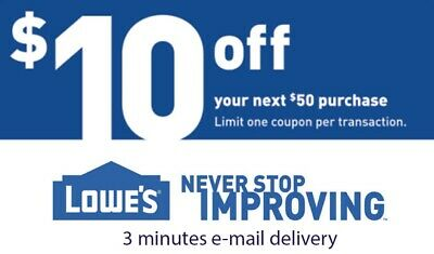 3 x 10$ OFF 50$ LOWES 3Coupon ONLINE USE ONLY - Lowe's online -Insta E-delivery