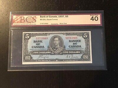 1937 Bank Of Canada $5 Coyne/Towers signature BC-23c BCS graded EF 40