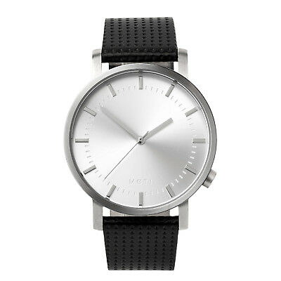 Mens Womens Silver Minimalist Stainless Steel Leather Band Wrist Watch