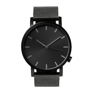 Mens Womens Black Minimalist Stainless Steel Wrist Watch Milanese Mesh Band