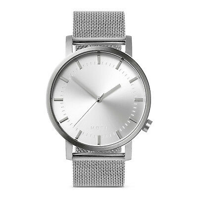 Mens Womens Silver Minimalist Stainless Steel Wrist Watch Milanese Mesh Band