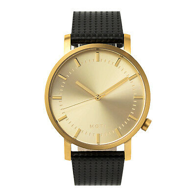 Mens Womens Gold Minimalist Stainless Steel Leather Band Wrist Watch