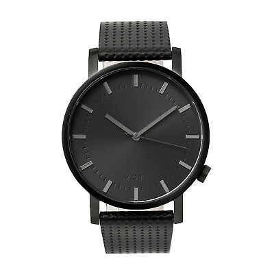 Mens Womens Black Minimalist Stainless Steel Leather Band Wrist Watch