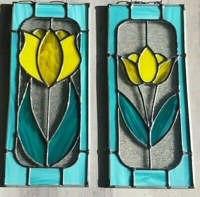 "Pair of Vintage Hanging Stained Glass Yellow Tulips  4.25"" by 10"" Beautiful!"