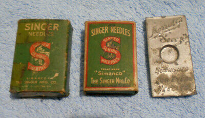 #D491. Three Small Sewing Machine Needle Containers - Singer Are Full