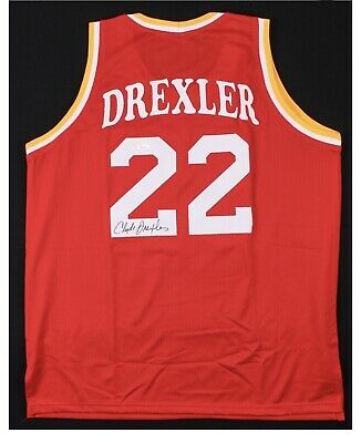 57280b779f8 Clyde (The Glide ) Drexler Signed Houston Rockets Throwback Jersey (JSA COA)