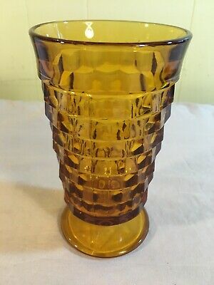 "Colony Whitehall Amber Cubist 6"" Footed Ice Tea Tumbler Indiana Glass"