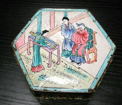 Old Chinese Porcelain Enamel Copper Trinket Box