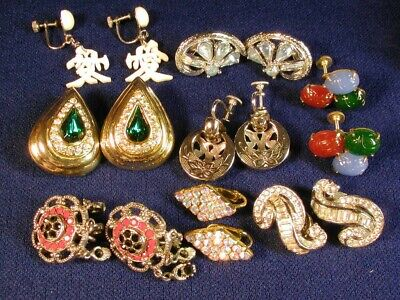 Vintage Lot 8 Pair Rhinestone Clip Back Screw Back Colorful Clip On Earrings