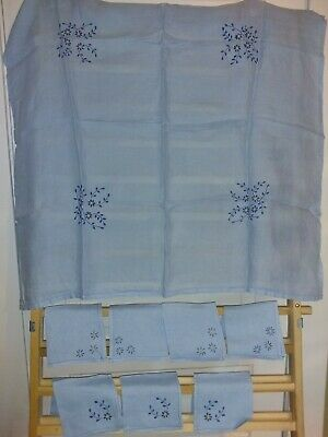 Vintage blue tablecloth and 7 napkin set w/blue & yellow floral embroidered