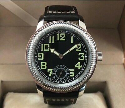 parnis 44MM Luminous Black dial 6498 Hand Winding Movement Mens Watch