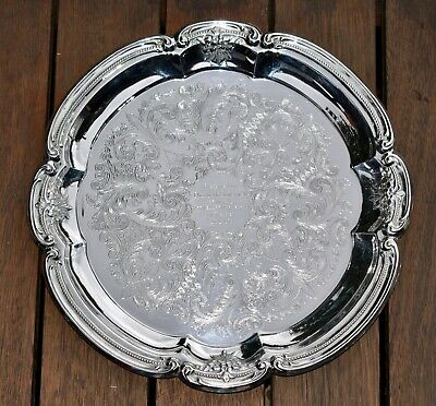 Beautiful c1979 Vintage RODD Silver Plate Tray - Etched, Floral/Beaded Band 32cm