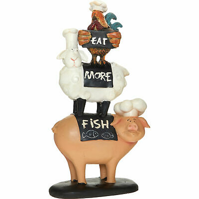 Farm Animals Stacking Stacked Cow & Pig Kitchen Ornament Figurine Gift