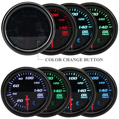 2'' 52Mm Universal 7 Colore Led Pressione Olio Manometro Psi Gauge Auto Tuning