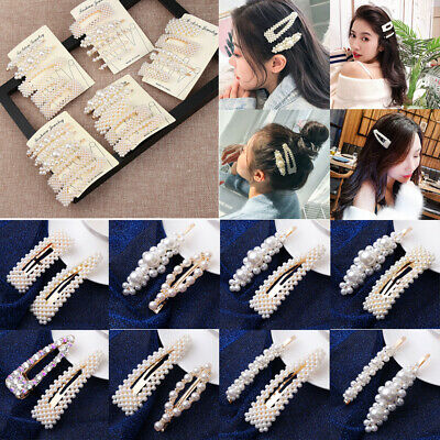 1Set New Solid Pearl Hair Clips Women Hair Barrette Fashion Hairpins Trendy 2019