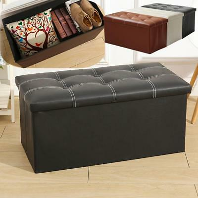 Large Blanket Box Storage Ottoman PU Leather Fabric Chest Toy Foot Stool Bed Box