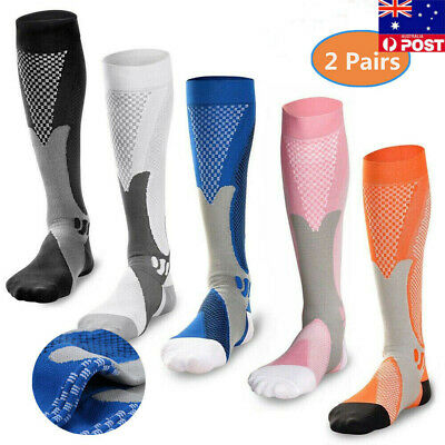 Mens 2 Pairs Compression Socks 20-30 mmhg Sports Knee High for Running Fitness S