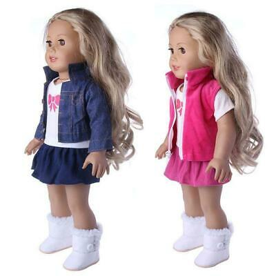 3pcs/set Girl Doll Clothes Dress Suit Set Top Skirt Coat for 18in Girls Dolls❤lo