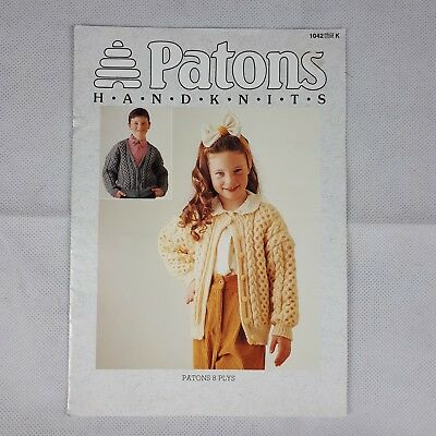 Patons Knitting Pattern Book 1042 - Girl and Boy Patterns in 8 ply.