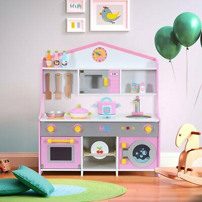 Kids Toy Kitchen Large Children Wooden Cooker Girls Boys Play Set Pink ~UK FAST