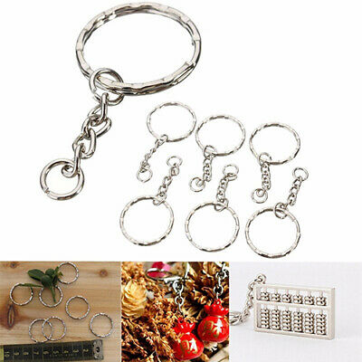 DIY Silver Tone Keyring Blanks Key Chains Split Rings with 4 Link Chain 10Pcs