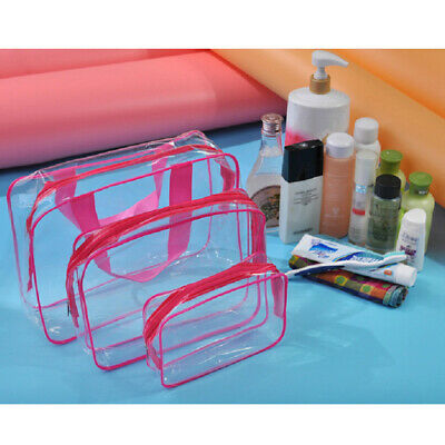 3PCS Clear PVC Toiletry Bag Waterproof Cosmetic Makeup StorageBags W/Zipper Hot